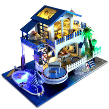 Mediterranean Seaside Villa DIY Doll House Miniature Wooden Dollhouse Furniture LED Light Romantic Music Box Birthday Xmas Gift
