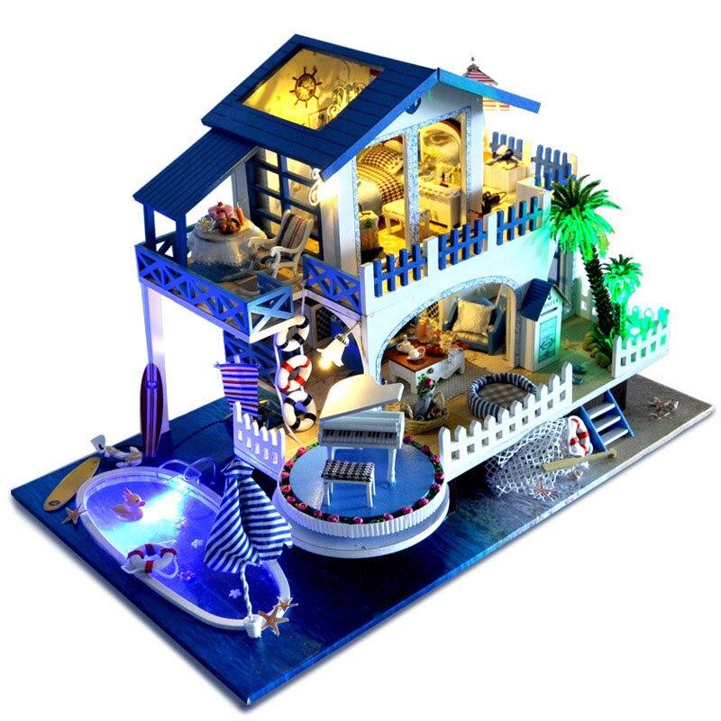 Mediterranean Seaside Villa DIY Doll House Miniature Wooden Dollhouse Furniture LED Light Romantic Music Box Birthday Xmas Gift