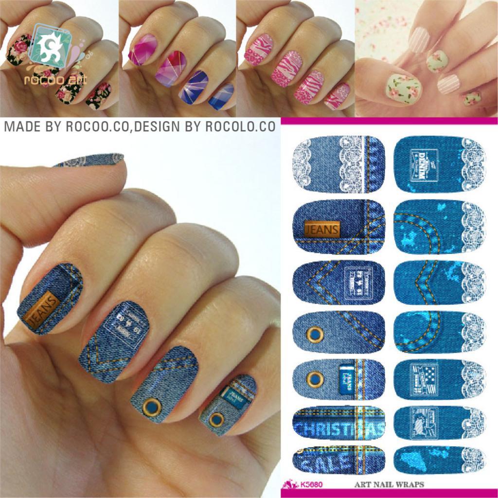 Rocooart K5680 Water Transfer Nail Foil Sticker Art Denim Jeans ...