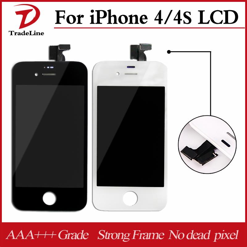 Prix pour 20 pcs/lot oem assemblée façade en verre + lcd digitizer écran blanc ou noir pour ecran iphone 4 4s lcd