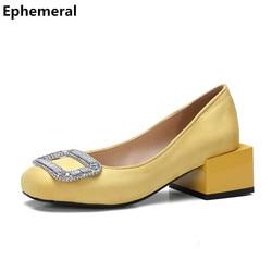 Dames affluent Chaussures Simples solide womer mocassins strass moyen talon low top slip-sur personalizados homem plus la taille 43 rouge jaune