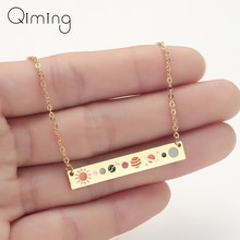Astronomy Lunar Moon Phase Pendant Necklace Women Galaxy Jewelry Stainless Steel Choker Chain Bar Necklace Bijoux Femme(China)