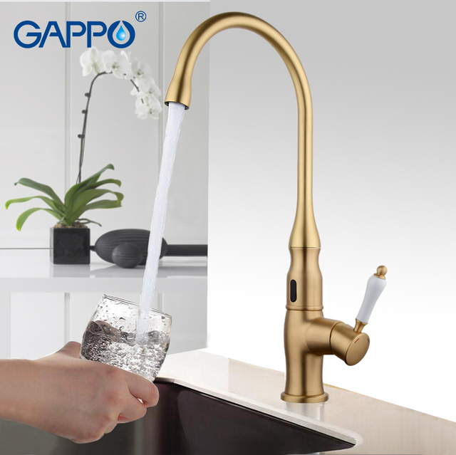 Merveilleux GAPPO Gold Kitchen Faucet Torneira Cozinha Water Sensor Taps Automatic  Infrared Touchless Sensor Faucet Kitchen Mixer