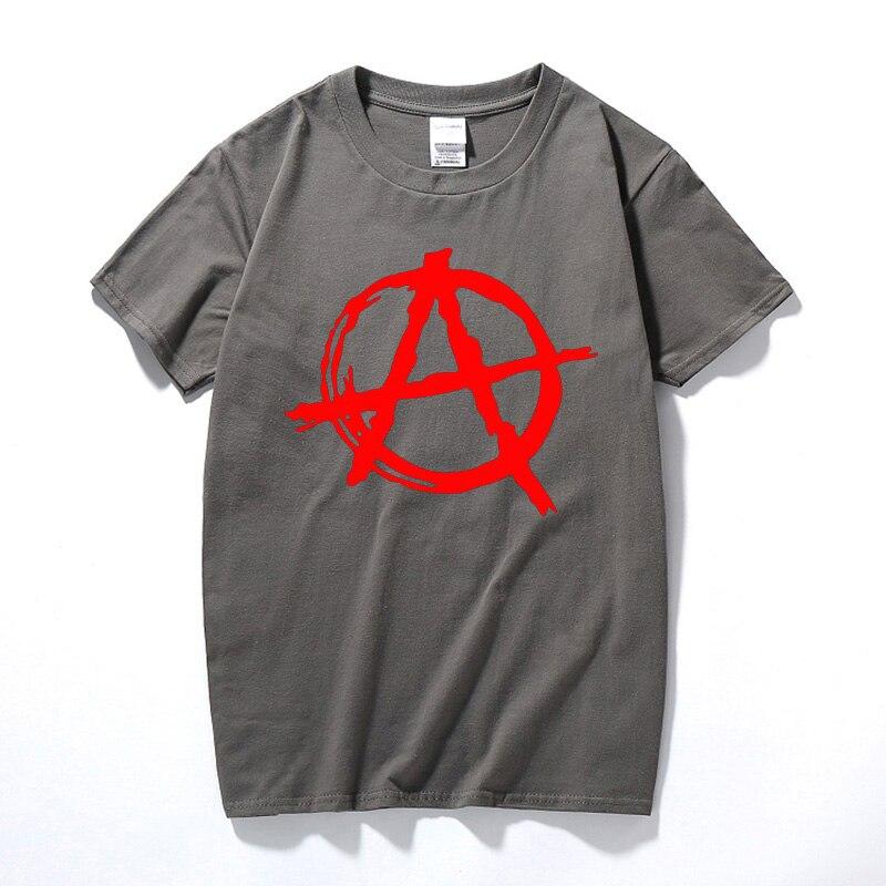 Men Brand Anarchy Symbol Printing Casual T Shirt Punk Rock Bedlam