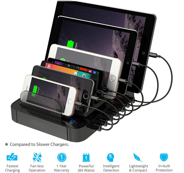 New Portable 7 Port Multi Port Usb Charger Station Adapter For IPhone  Android Mobile Phone Tablet Device (black) Free Shipping Worldwide