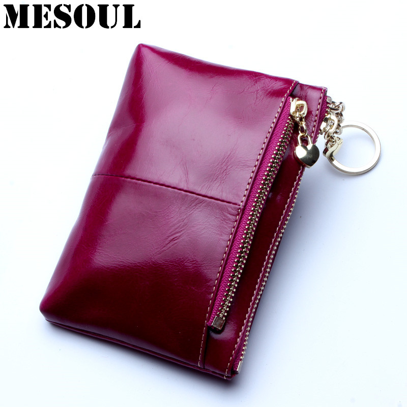 MESOUL High Quality Genuine Leather Women Mini Wallet Oil Wax Leather Coin Purse Coin Credit Card Holder With Metal Ring 8 Color mens wallet genuine leather vintage small wallets brand design high quality unisex oil wax cowhide coin purse credit card holder