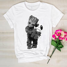Baby groot hugs jack skellington tshirt 베이비 그루트 셔츠 jack skellington t 셔츠 baby groot funny cotton tees(China)