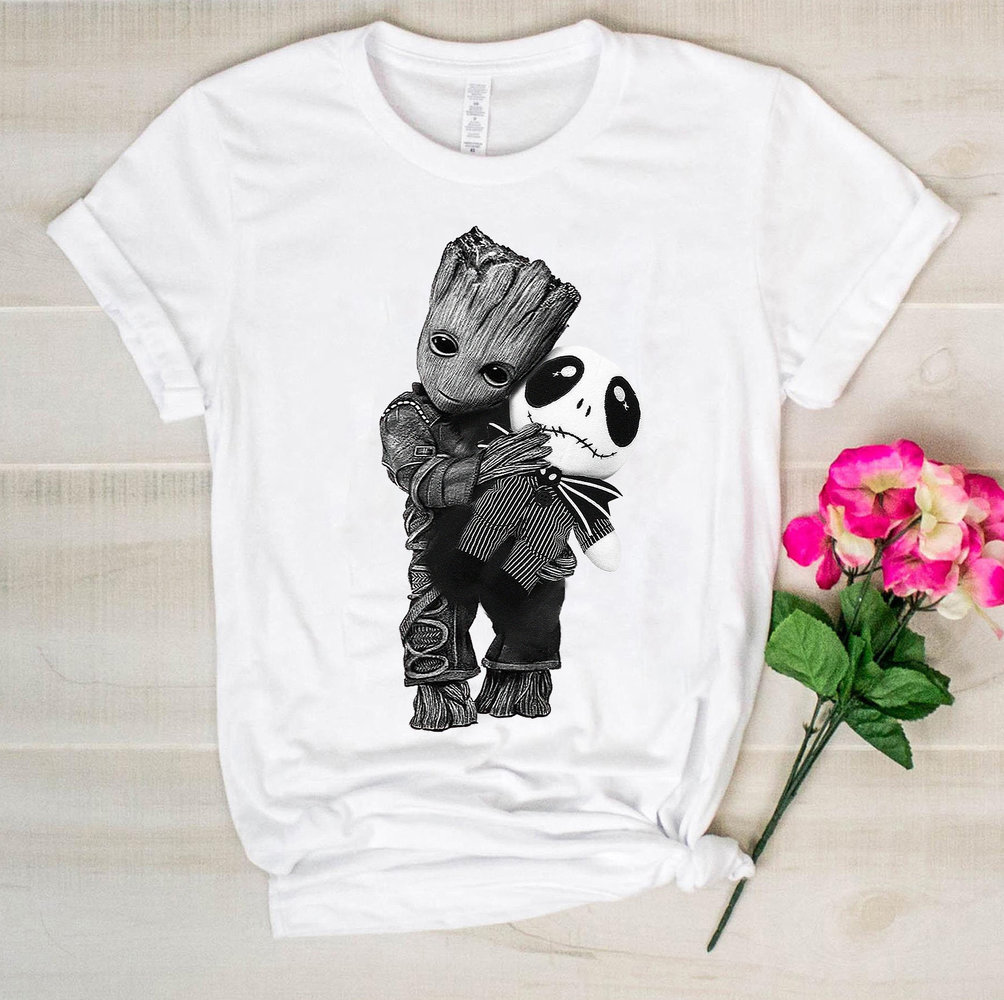 Baby Groot <font><b>Hugs</b></font> Jack Skellington <font><b>tshirt</b></font> Baby Groot shirt Jack Skellington T shirts Baby Groot Funny Cotton Tees image