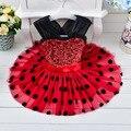 Новые 2016 Малышей девушки платье крещение платье для детей 2-4 лет девушки Подарок На День Рождения платье для девочки Dot платья