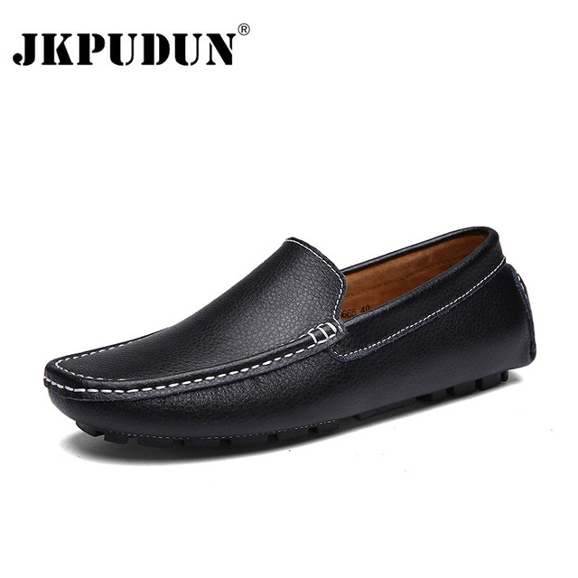 6109b14f6f7bc Aliexpress.com : Buy JKPUDUN Genuine Leather Men Casual Shoes Black  Moccasins Mens Loafers High Quality Fashion Brand Men Flats Comfy Driving  Shoes from ...