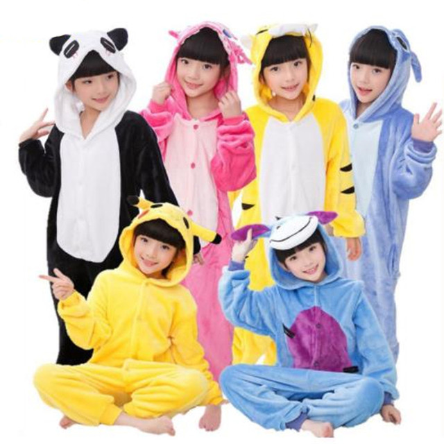 Flannel Pijamas Kids Cosplay Cartoon Animal Baby Boys Girls Pyjamas Home Clothes Panda Unicorn Pajamas Kids Onesie Sleepwear