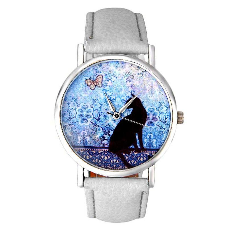 Superior Women Cat Pattern PU Leather Band Quartz Wrist Watch Clock Sep8