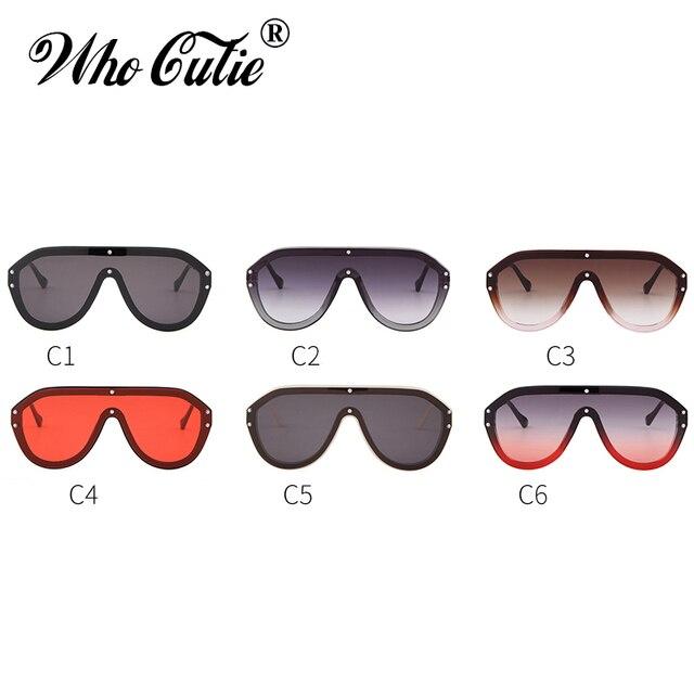 WHO CUTIE Oversized Women Sunglasses 2019 Brand Bold Design Futuristic Shield Big Frame Female Sun Glasses One Piece Shades S016