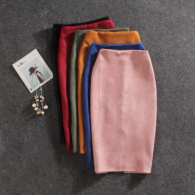 Women Skirts Summer Plus Size Knee-Length Pencil Skirt Female Vintage Suede Split Skirts Jupe Femme Faldas Mujer