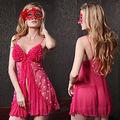 Красный Черный Куколки Женское Белье Сорочка Платье Сексуальная Ruffled Sheer Ночная Сорочка Ml XL 8-14