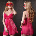 Red Black Lingerie Babydoll Vestido Chemise Sexy Com Folhos Sheer Nightie M L XL 8-14