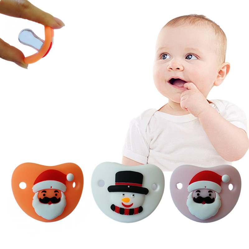 Infant Soft Food-Grade Silicone Nipple Cartoon Santa Claus SnowmanSafe BPA Free Orthodontic Dummy Teether Baby Pacifier