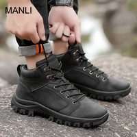 MANLI Military Tactical Boots For Men Outdoor Climbing Waterproof Leather Hunting Boots Non slip Trekking Sneakers Hiking Shoes