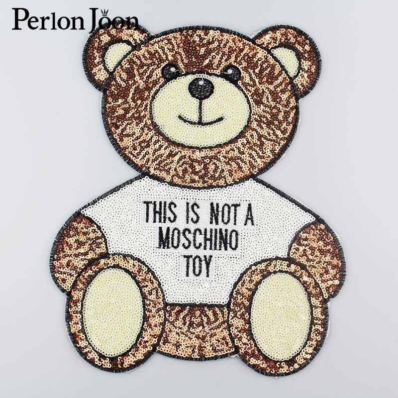 Cute bear sequins big patch vintage embroidered applique fashion clothing decoration Iron-On patch DIY Motif accessories TP016