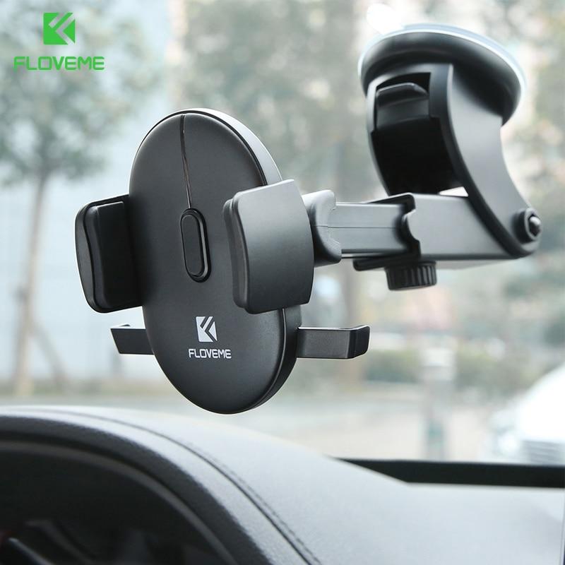 FLOVEME Windshield Car Phone Holder For iPhone 7 X XS Samsung 360 Dashboard Cell Phone Stand Holder in Car Mount telefon tutucu
