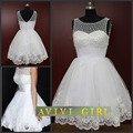 Короткие вечерние платья 2016 белый бисероплетение формальные кружева вечерние платья vestido де festa вечерние платья халат де вечер на складе горячая