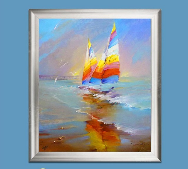 Oil Painting Sailing Boat Ocean Beach Decorative Abstract Hand Painted Canvas
