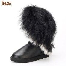 Haute Qualité Réel véritable en cuir nature lapin renard fourrure glands blanc neige bottes pour femmes de mode appartements chaussures d'hiver imperméables