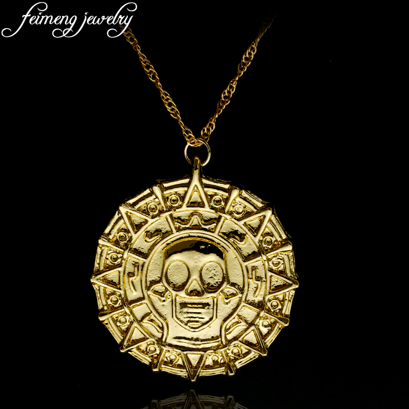 Pirates of the Caribbean Aztec coin Medallion Skull Pendant Necklace Movie Jewelry Captain Jack Sparrow Vintage Gold Pendant