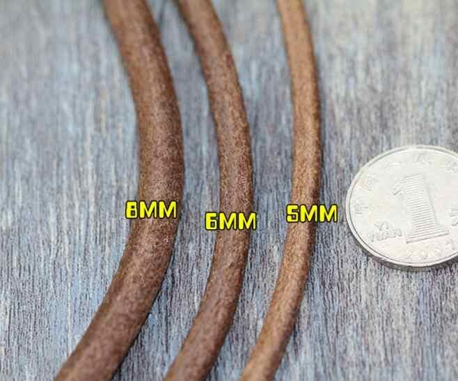 5Y/الكثير 1 1.5 2 2.5 3 4 مللي متر حقيقية جلد البقر سوار حبلي قلادة النتائج جولة جلدية حبل سلسلة صنع المجوهرات النتائج