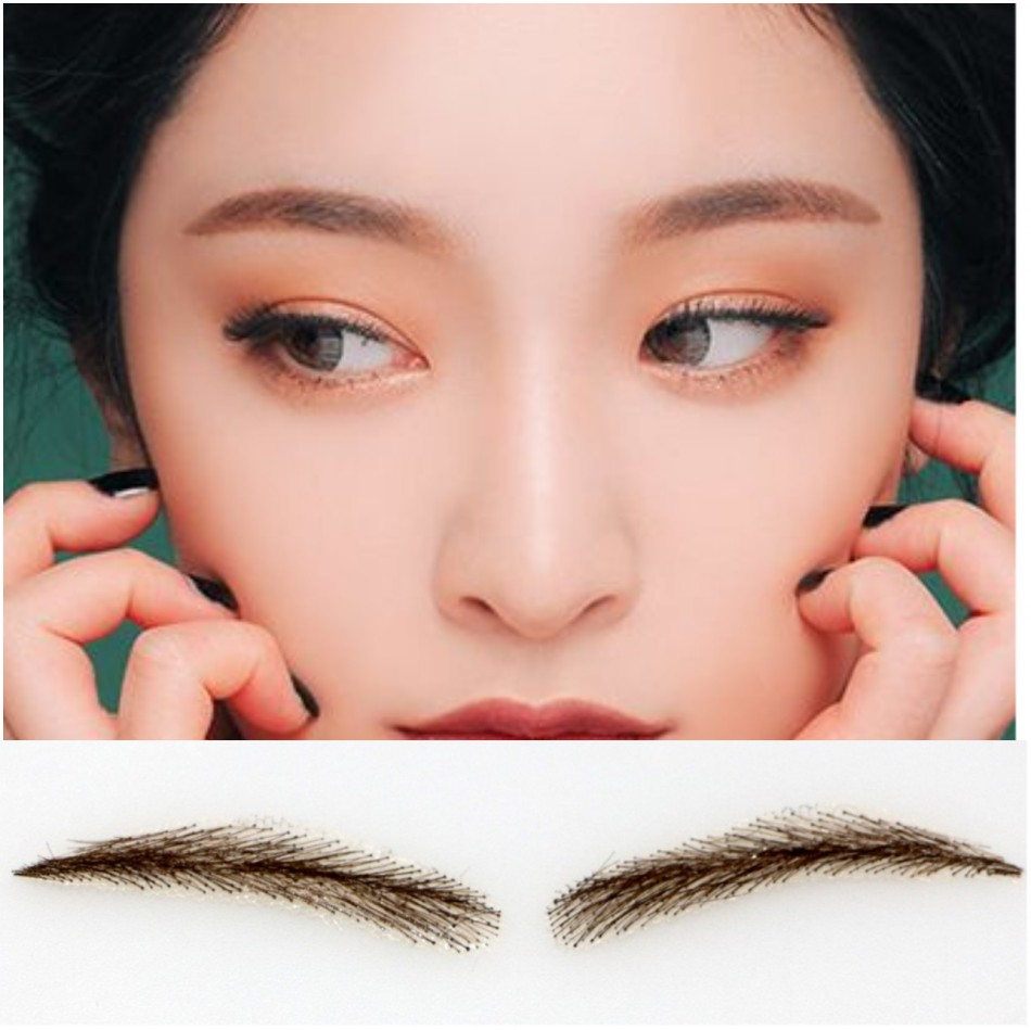 2017 free shipping FIXVIC human hair eyebrow wig /Eyebrow Tattoos 002 Full Brow & Soft Angled Arch Eyebrow Tattoos temporary eyebrow tattoos for cancer alopecia and hair loss instant glamour eye brows are made from 100% human hair strands