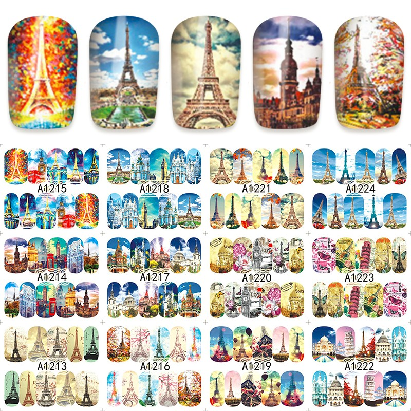 12 sheets WATER DECAL NAIL ART NAIL STICKER SLIDER TATTOO FULL COVER EUROPE PARIS TOWER CHURCH A1213-1224 4 packs lot full cover white french smile lace tattoos sticker water decal nail art d363 366w