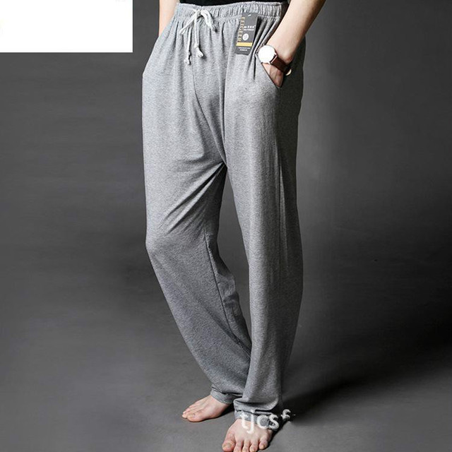 Mens Modal Sleep Bottom Loose Fit Pajamas Trousers Homewear Sleep And Lounge Long Underwear Elastic Waist Soft Big Size Hot Sale