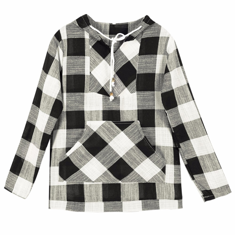 5251f7ab69a Lisli Plaid Hooded Tops Women Autumn Clothes V Neck Sexy For Women Clothing  Long Sleeve Europen Fashion Pullovers 01C0458-in Hoodies   Sweatshirts from  ...
