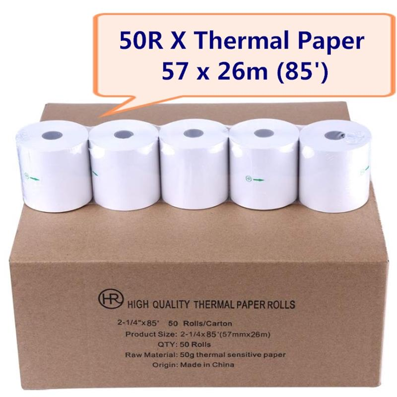 50 X Rolls Thermal Receipt Paper 2 1/4 '' X 85'   Top Quality POS Thermal Receipt Paper 57 X 50