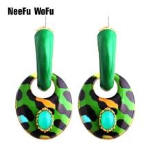 Drop Big Earring Dangle Oval Zinc alloy Drip oil Large Long Brinco Printing Ear Accessories Tijger Oorbellen Tiger Earrings