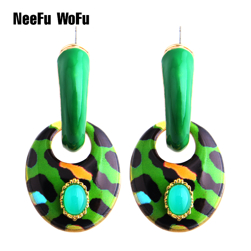 NeeFu WoFu Drop Big Earring Oval Tiger Long Earrings Zinc alloy Drip oil Large Brinco Printing