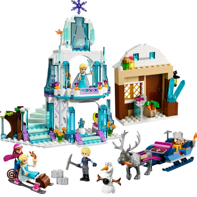 Princess Anna Elsa Snow Queen Elsa's Sparkling Ice Castle Building Blocks Brick Toys For Girls Compatible with Legoingly friends jg303 building blocks arendelle castle princess anna elsa buildable snow queen figures sy371 with blocks kids toys gift page 8
