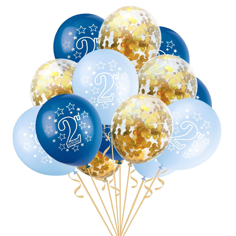 15 шт. 12 дюймов счастливый 2 лет День рождения Синий Розовый Золото Роза латексные Конфетти Для детей день рождения мультфильм шляпа подарки для детей - Цвет: blue gold