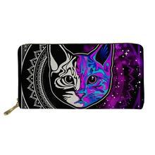 цены на Gothic Colorful Cat Long PU Leather Wallet for Women Purses Girls Coin Purse Card Holder Wallet Female Zipper Money Bag 2019  в интернет-магазинах