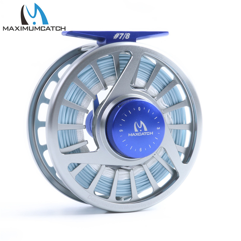 Maximumcatch AVID Saltwater 7/8wt Fly Reel with 100FT WF8F Weight forward floating Sea Fishing Fly Line with Backing Line Kit