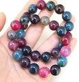 Superb Round 12mm Rainbow Agate Bracelet ,Tourmaline Color Gem Beads Bracelet ,Fashion Jewelry.