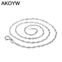 silver necklace female models wave chain of high-end women's jewelry, vintage jewelry silver jewelry top 45CM