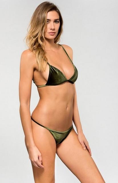 fb2db74370ad3 2017 Women Bikini Set Special Material Velvet Brazilian Beach Thong  Swimwear Sexy Monokini Swimsuit Trikini Monokini Bodysuit
