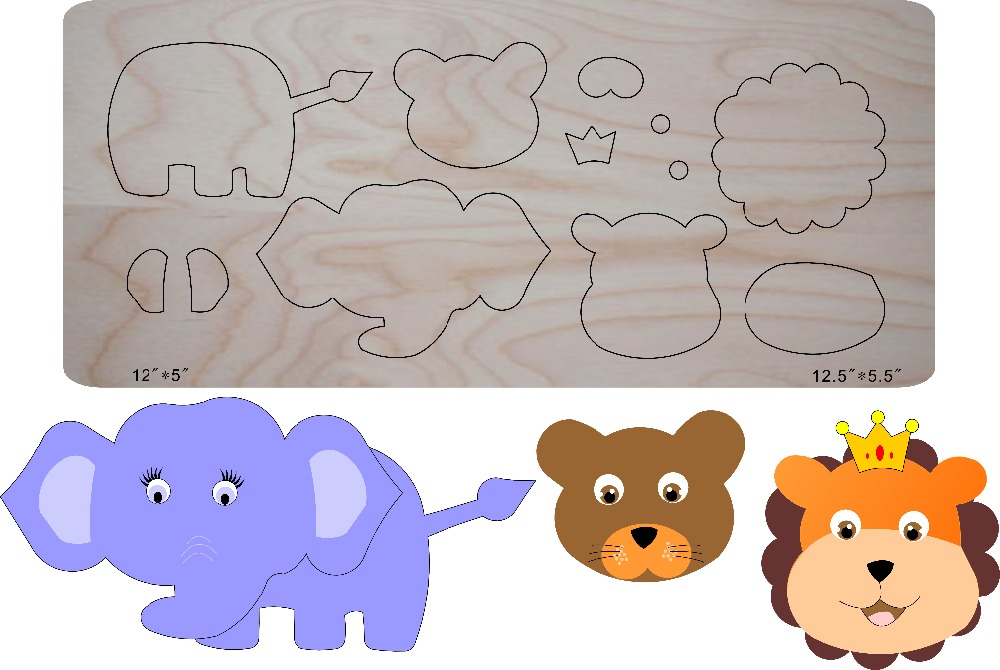 Assembled elephant DIY wooden mold multi purpose scrapbook suitable for common machines in the market