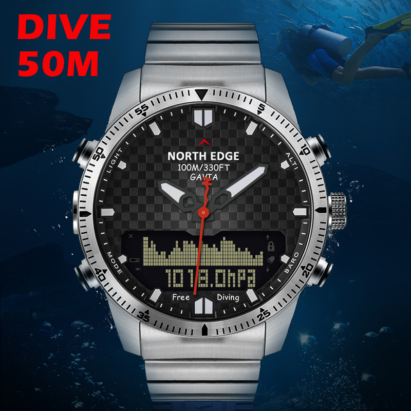 Diver watch Men Military Sport Watches Diving Analog Digital Watch Male Army Stainless Quartz Clock Altimeter
