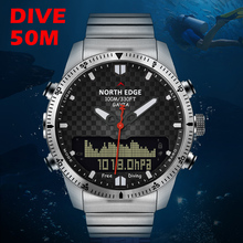 Diver watch Men Military Sport Watches Diving Analog Digital Watch Male Army Stainless Quartz Clock Altimeter Compass NORTH EDGE men dive sports digital watch mens watches military army luxury full steel business waterproof 100m altimeter compass north edge