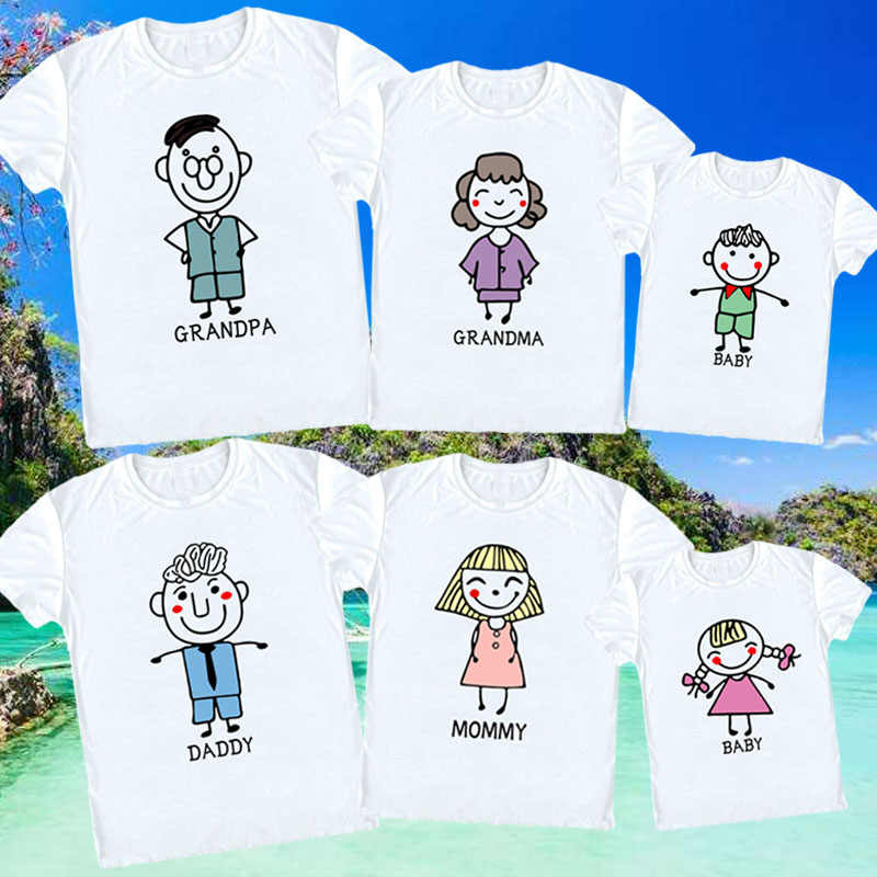 66851163 Grandfather Grandmother Daddy Mommy Baby Families T Shirt All Family Member  T Shirt Love Cute Cartoon