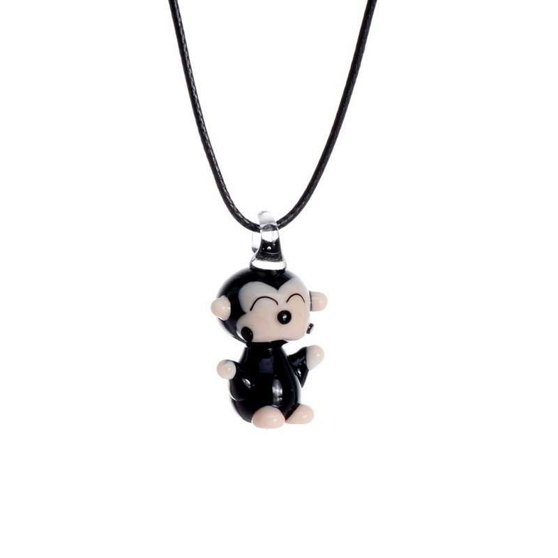 SEDmart Cute Monkey Snowman Lampwork Glass Animal Fetish Pendant Necklace For Women Leather Chain Colored Glass Necklace Jewelry