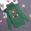 2-10 Т Новый Медведь Печати Толстая Мода Водолазка Девушки Вязаный Свитер Мальчики Пуловер Рубашки Твердые Весна Зима KC-1547