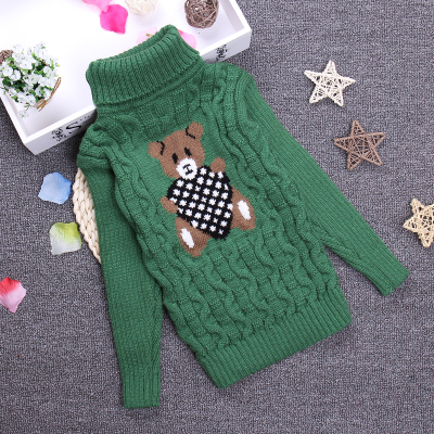 2-10 T Novo Cópia do Urso Moda Grossa camisola de Gola Alta Camisola de Malha Meninas Meninos Camisas do Pulôver Sólida Para A Primavera Inverno KC-1547